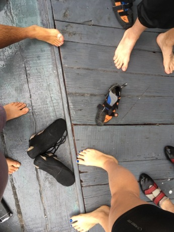 Climbing shoes on a boat?
