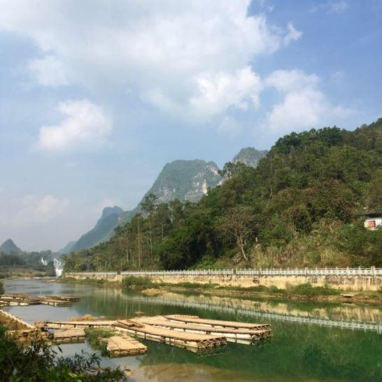 Bang Gioc waterfall and China across the river