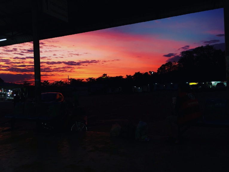 First sunset in Thakhek, from bus station